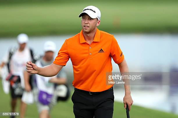 Daniel Berger walks on the 18th green during the final round of the FedEx St Jude Classic at TPC Southwind on June 12 2016 in Memphis Tennessee
