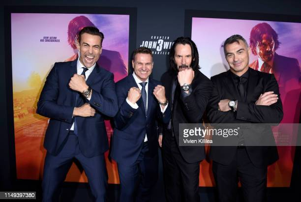 Daniel Bernhardt CEO of Carl F Bucherer Sascha Moeri Keanu Reeves and Chad Stahelski celebrate the premiere of John Wick Chapter 3 Parabellum on May...