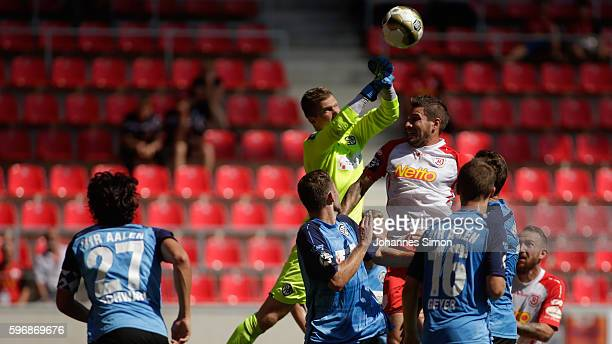 Daniel Bernhardt goalkeeper of Aalen in action during the the Third League match between Jahn Regensburg and VfR Aalen at Continental Arena on August...