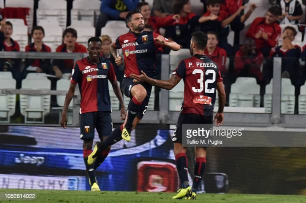 Daniel Bessa of Genoa celebrates after scoring during the Serie A match between Juventus and Genoa CFC at Allianz Stadium on October 20 2018 in Turin...