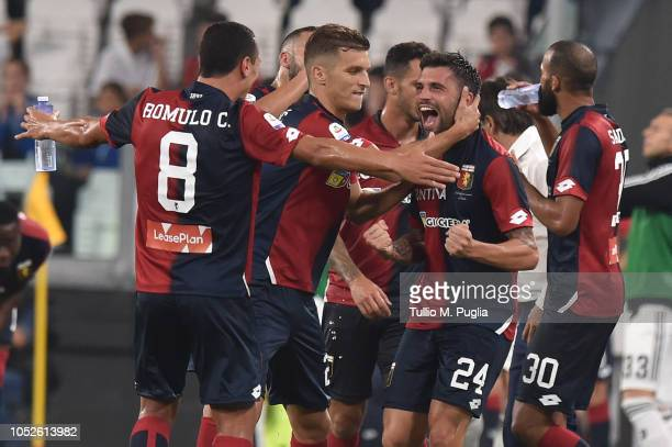 Daniel Bessa of Genoa celebrates after scoring the tying goal during the Serie A match between Juventus and Genoa CFC at Allianz Stadium on October...