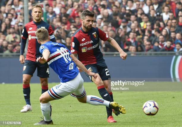 Daniel Bessa of Genoa CFC in action during the Serie A match between UC Sampdoria and Genoa CFC at Stadio Luigi Ferraris on April 14 2019 in Genoa...