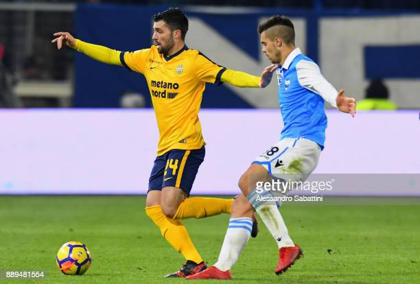 Daniel Bessa of Hellas Verona competes for the ball whit Alberto Grassi of Spal during the Serie A match between Spal and Hellas Verona FC at Stadio...