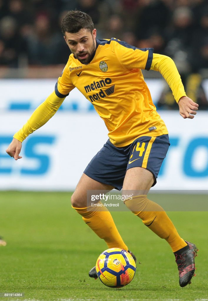 Daniel Bessa of Hellas Verona in action during the Tim Cup match between AC Milan and Hellas Verona FC at Stadio Giuseppe Meazza on December 13, 2017 in Milan, Italy.