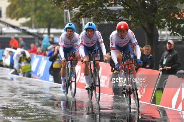 Daniel Bigham of United Kingdom / John Archibald of United Kingdom / Harry Tanfield of United Kingdom / Rain / during the 92nd UCI Road World...