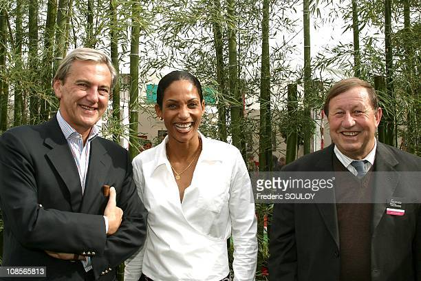 Daniel Bilalian Christine Aaron and Guy Roux in Paris France on October 07th 2004