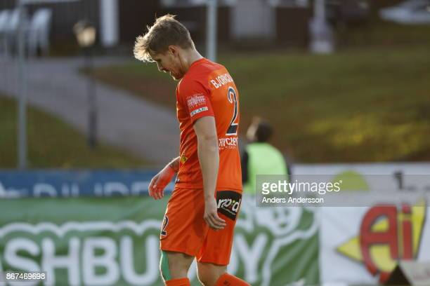 Daniel Bjornkvist of Athletic FC Eskilstuna during the Allsvenskan match between Halmstad BK and Athletic FC Eskilstuna at Orjans Vall on October 28...