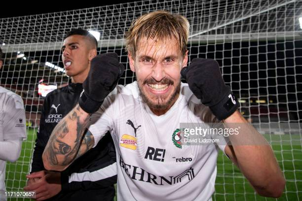 Daniel Bjornquist of Orebro SK reacts after the Allsvenskan match between Orebro SK and Ostersunds FK at Behrn Arena on September 25, 2019 in Orebro,...