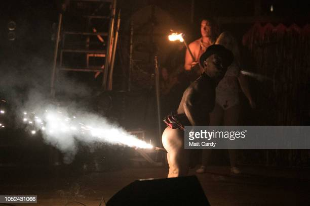 Daniel Blackner aka Captain Dan the Demon Dwarf a performer with the Circus of Horrors takes part in a dress rehearsal of the Circus of Horrors'...