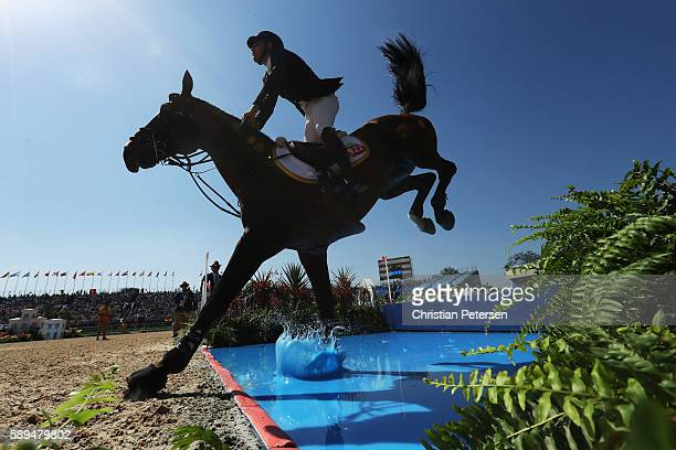 Daniel Bluman of Colombia riding Apardi competes during the Jumping Individual and Team Qualifier on Day 9 of the Rio 2016 Olympic Games at the...