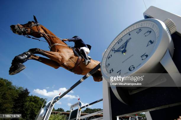 Daniel Bluman of Israel riding Ladriano Z competes during Day 4 of the Longines FEI Jumping European Championship 2nd part, team Jumping 1st round...