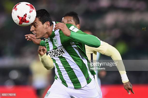 Daniel Bocanegra of Atletico Nacional heads the ball under pressure during the FIFA Club World Cup 3rd place match between Club America and Atletico...