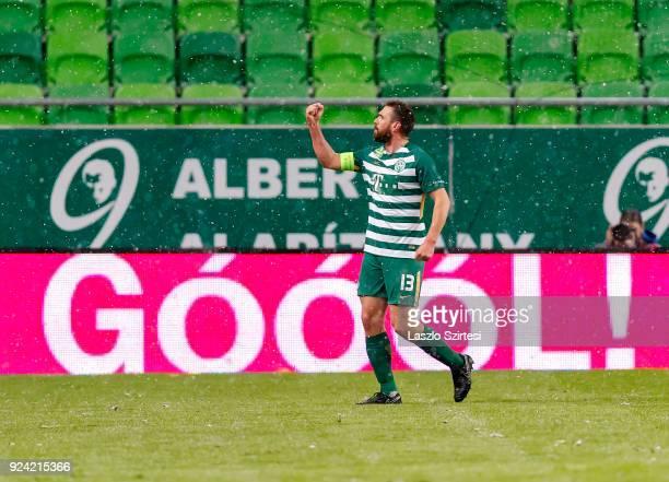 Daniel Bode of Ferencvarosi TC celebrates his goal during the Hungarian OTP Bank Liga match between Ferencvarosi TC and Budapest Honved at Groupama...