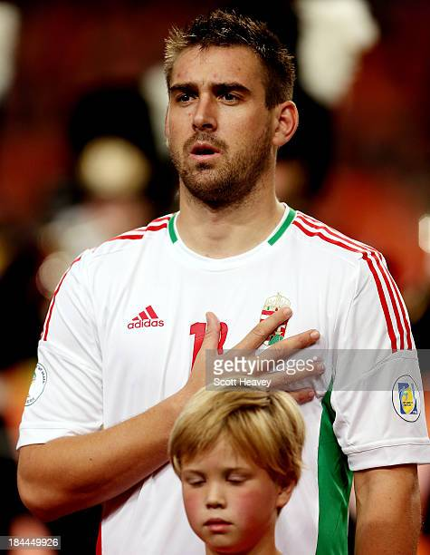 Daniel Bode of Hungary during the FIFA 2014 World Cup Qualifing match between Holland and Hungary at Amsterdam Arena on October 11 2013 in Amsterdam...