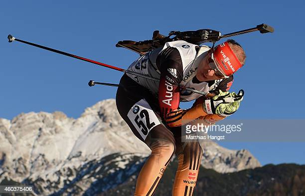 Daniel Boehm of Germany competes in the men's 10 km sprint event during the IBU Biathlon World Cup on December 12 2014 in Hochfilzen Austria