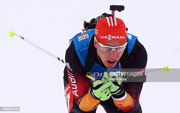 Daniel Boehm of Germany competes in the men's 10km sprint event during the IBU Biathlon World Cup on December 6 2013 in Hochfilzen Austria