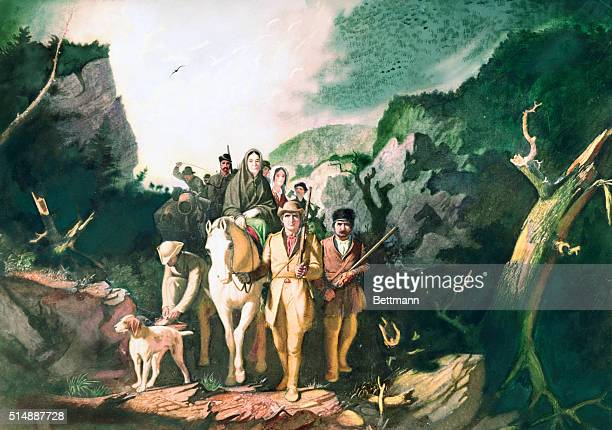 Daniel Boone coming through the Cumberland Gap with his band of pioneers Painting Washington University St Louis