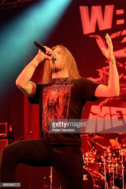 Daniel Boretzky from the German band Syndemic performs on stage during the first day of the Wacken Open Air festival on August 4 2016 in Wacken...