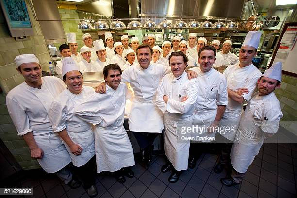 daniel boulud's kitchen - group shot of his team - photograph by owen franken - brigade stock pictures, royalty-free photos & images