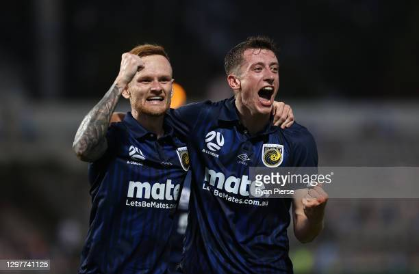 Daniel Bouman of the Mariners celebrates with Jack Clisby of the Mariners after scoring his teams first goal during the A-League match between Sydney...