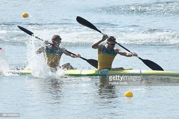 Daniel Bowker and Jordan Wood of Australia compete in the Men's Kayak Double 200m Heat 2 during Day 12 of the Rio 2016 Olympic Games at Lagoa Stadium...