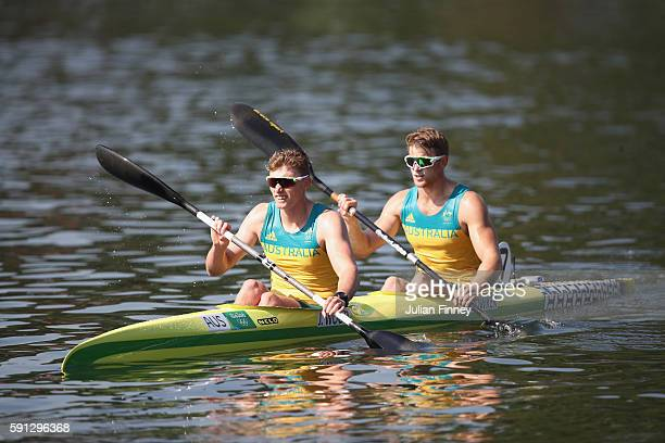 Daniel Bowker and Jordan Wood of Australia react after competing in the Men's Kayak Double 200m Heat 2 during Day 12 of the Rio 2016 Olympic Games at...