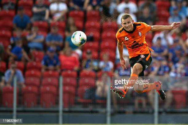 Daniel Bowles of Brisbane Roar in action during the round 12 A-League match between the Newcastle Jets and Brisbane Roar at McDonald Jones Stadium on...