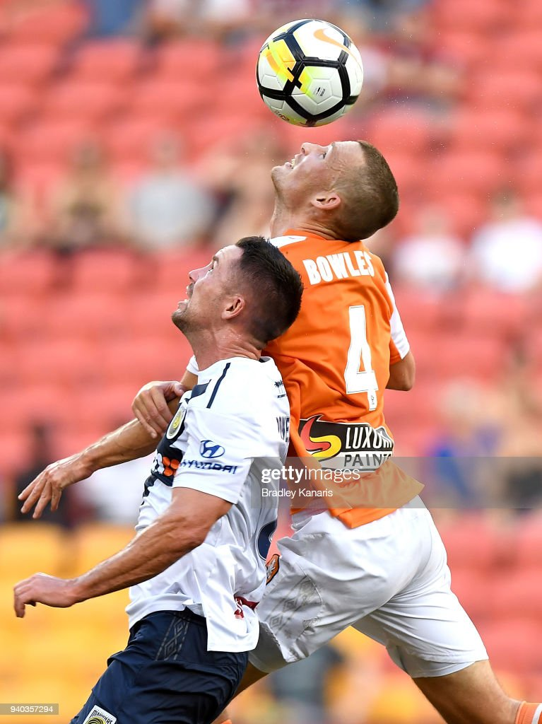 Daniel Bowles of the Roar competes for the ball during the round 25 A-League match between the Brisbane Roar and the Central Coast Mariners at Suncorp Stadium on March 31, 2018 in Brisbane, Australia.