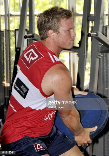Daniel Braid lifts weights during a Queensland Reds weights session held at Virgin Active February 17, 2009 in Cape Town, South Africa.