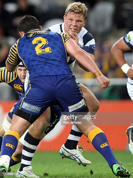 Daniel Braid of Auckland on the charge during the round 15 ITM Cup match between Otago and Auckland at Forsyth Barr Stadium on October 11, 2012 in...