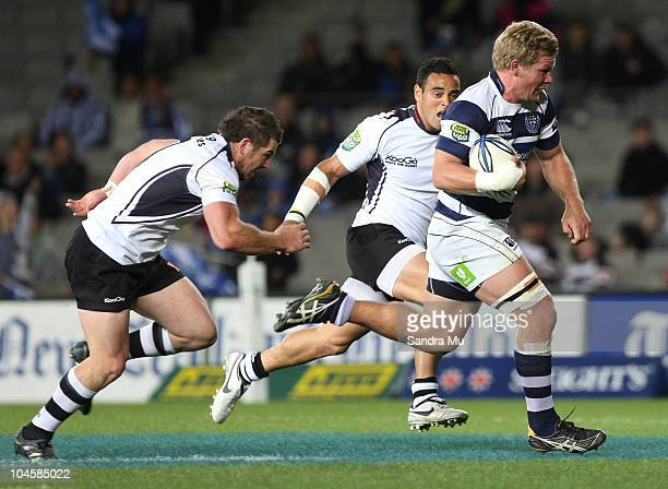 Daniel Braid of Auckland runs in to score a try during the round 10 ITM Cup match between Auckland and Hawke's Bay at Eden Park on October 1, 2010 in...