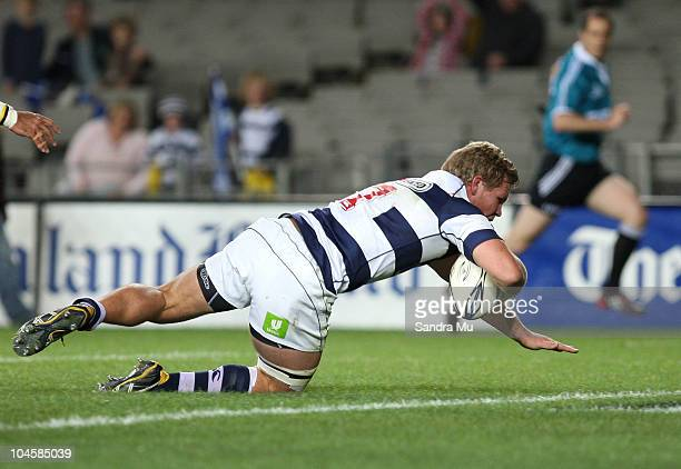 Daniel Braid of Auckland scores a try during the round 10 ITM Cup match between Auckland and Hawke's Bay at Eden Park on October 1, 2010 in Auckland,...