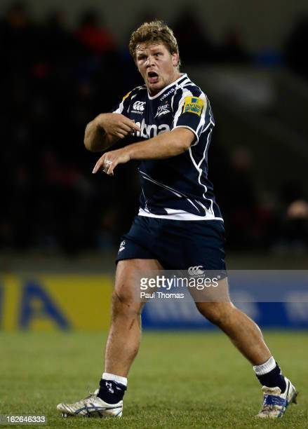 Daniel Braid of Sale in action during the Aviva Premiership match between Sale Sharks and Harlequins at the Salford City Stadium on February 22, 2013...