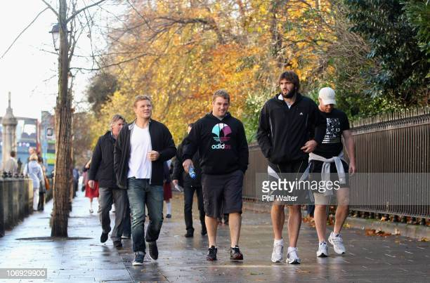 Daniel Braid Owen Franks Sam Whitelock and Brad Thorn of the New Zealand All Blacks take a walk around the St Stephens Green shopping area on...