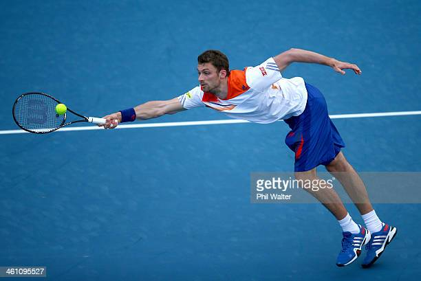 Daniel Brands of Germany plays a forehand during his first round match against Bradley Klahn of the USA on day two of the Heineken Open at the ASB...