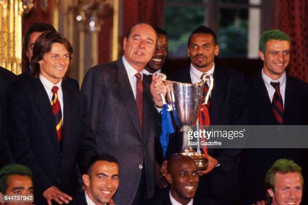 Daniel BRAVO / Jacques CHIRAC / Bernard LAMA / Alain ROCHE A l'Elysee Paris Saint Germain / Rapid de Vienne Finale Coupe des Coupes Photo Alain...