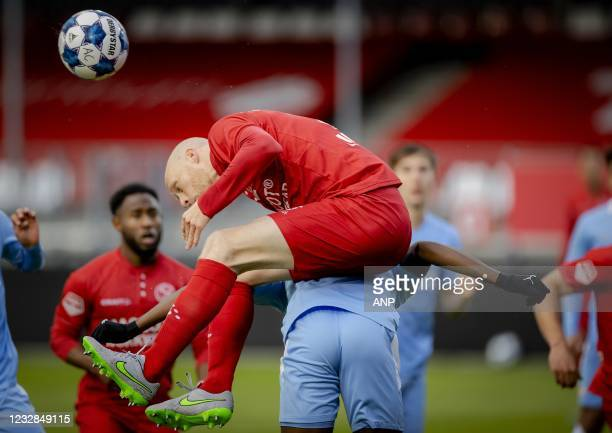 Daniel Breedijk of Almere City, Mathias Kjolo or PSV U23 during the Dutch Kitchen champion division match between Almere City and Jong PSV at the...