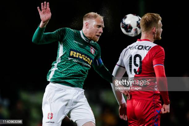 Daniel Breedijk of FC Dordrecht Jonas Arweiler of FC Utrecht U23 during the Dutch Keuken Kampioen Divisie match between FC Dordrecht v Utrecht U23 at...