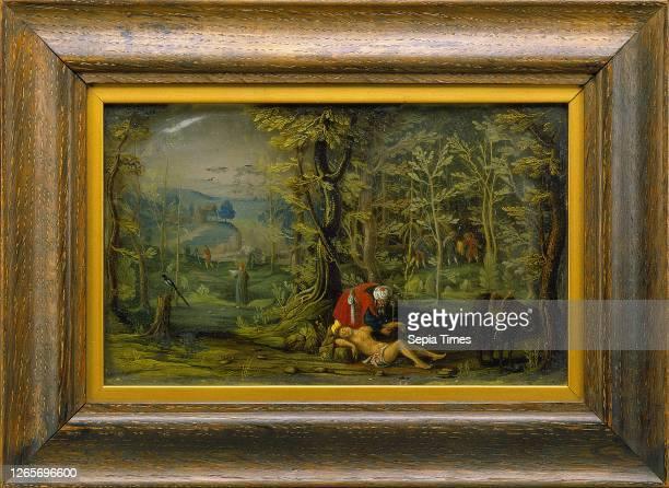 Daniel Bretschneider the Younger, German, active 1623-1658, The Good Samaritan oil, glass, mica, Unframed: 4 3/4— 7 5/8— 1 1/8 inches .