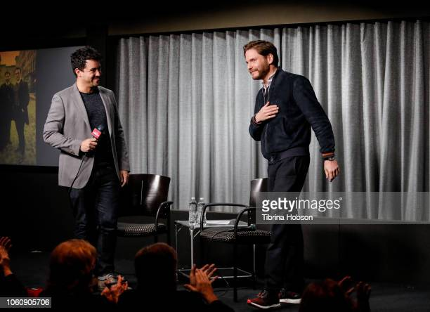 Daniel BrŸhl and Joey Chavez attend SAGAFTRA Foundation conversations and screening of 'The Alienist' at SAGAFTRA Foundation Screening Room on...