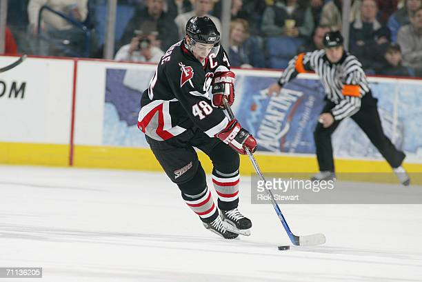 Daniel Briere of the Buffalo Sabres handles the puck against the Boston Bruins on March 29 2006 at HSBC Arena in Buffalo New York The Sabres won 43