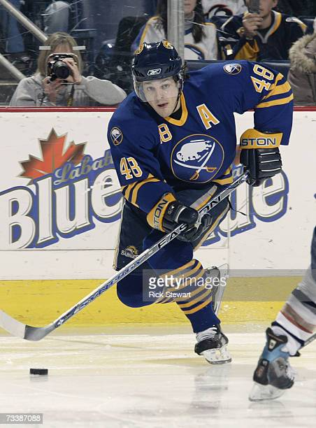Daniel Briere of the Buffalo Sabres skates against the Edmonton Oilers during their NHL game on February 15 2007 at HSBC Arena in Buffalo New York...