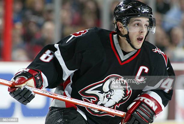 Daniel Briere of the Buffalo Sabres skates during the game against the Carolina Hurricanes on November 9 2005 at HSBC Arena in Buffalo New York The...