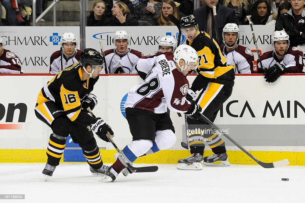Daniel Briere #48 of the Colorado Avalanche carries the puck up ice against the Pittsburgh Penguins at Consol Energy Center on December 18, 2014 in Pittsburgh, Pennsylvania.