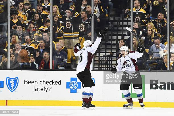 Daniel Briere of the Colorado Avalanche celebrates his goal at the end of the third period against the Boston Bruins at the TD Garden on October 13...