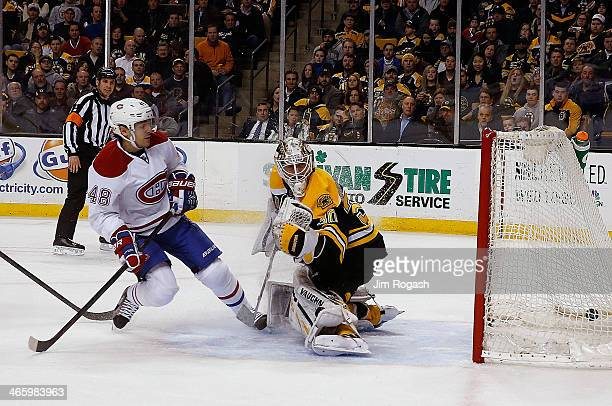 Daniel Briere of the Montreal Canadiens scores on Chad Johnson of the Boston Bruins in the second period at TD Garden on January 30 2014 in Boston...