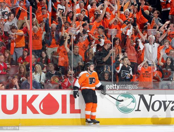 Daniel Briere of the Philadelphia Flyers celebrates his second period goal against Chicago Blackhawks during Game Six of the 2010 NHL Stanley Cup...