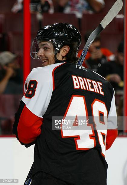 Daniel Briere of the Philadelphia Flyers looks on against the New Jersey Devils at the Wachovia Center on September 24 2007 in Philadelphia...