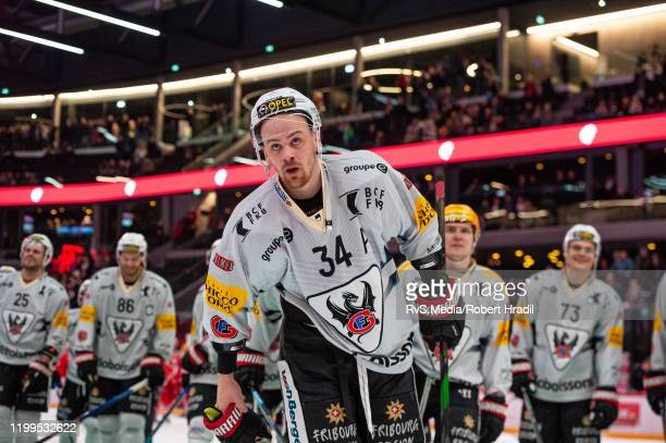 Daniel Brodin of HC FribourgGotteron salutes the crowd after the Swiss National League game between Lausanne HC and HC FribourgGotteron at Vaudoise...