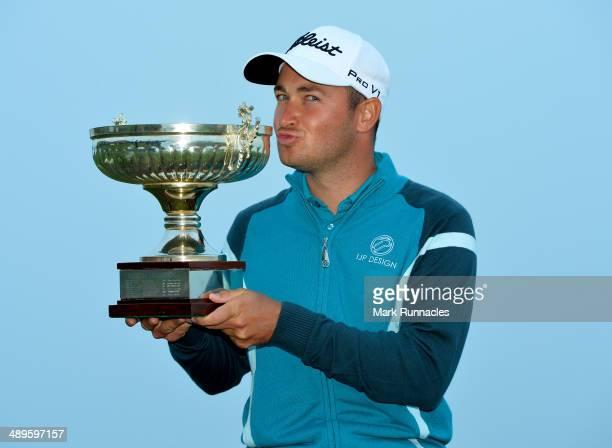 Daniel Brooks of England celebrates winning the Madeira Islands Open Portugal BPI at Club de Golf do Santo da Serra on May 11 2014 in Funchal Madeira...